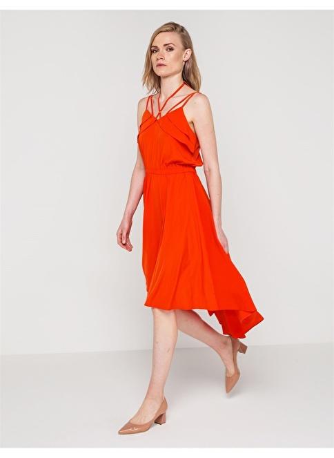 Love'n Fashion Paris Askılı Asimetrik Elbise Kırmızı